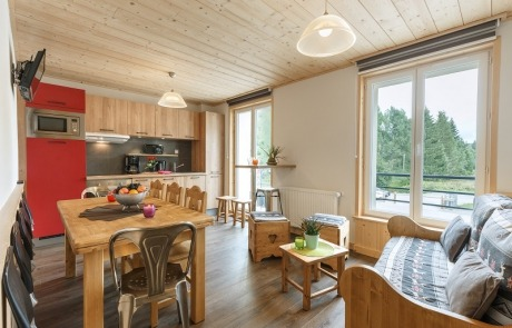 Overview of the living room kitchen n°15 and 25 Residence Les Tavaillons